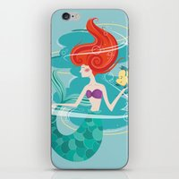 little mermaid iPhone & iPod Skins featuring Little Mermaid by LindseyCowley