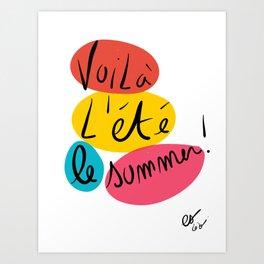 Voilà L'été This is Summer Graffiti Typography Art Art Print