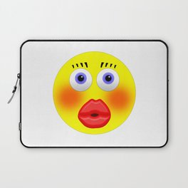 Smiley Embarrassed Kissing Girl Laptop Sleeve