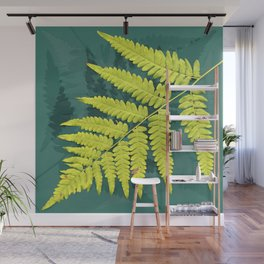 From the forest - lime green on teal Wall Mural