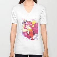 wedding V-neck T-shirts featuring Wedding Peach by Neo Crystal Tokyo