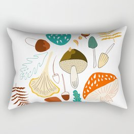 Mushrooms and leaves in autumn Rectangular Pillow