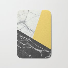 Black and White Marble with Pantone Primrose Yellow Bath Mat