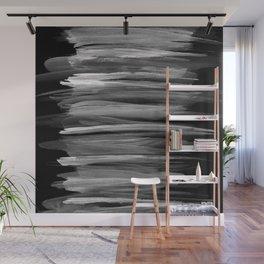 Gray White on Black Abstract Minimalism #1 #minimal #ink #decor #art #society6 Wall Mural