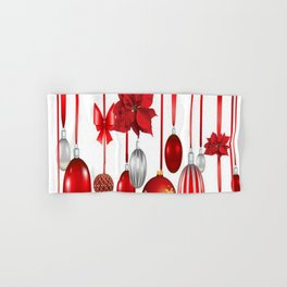 RED-WHITE CHRISTMAS ORNAMENTS FROM SOCIETY6 Hand & Bath Towel
