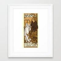 bride Framed Art Prints featuring Bride by Karen Hallion Illustrations