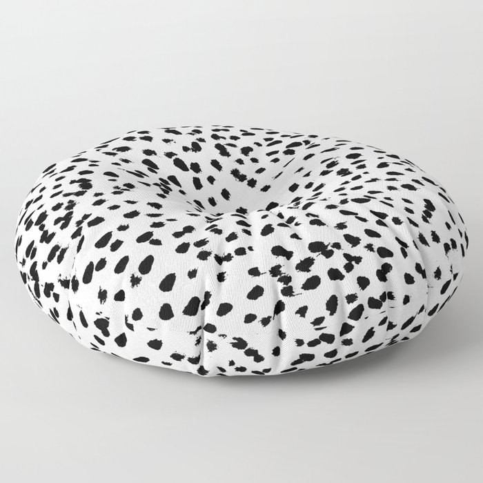 Nadia - Black and White, Animal Print, Dalmatian Spot, Spots, Dots, BW Floor Pillow