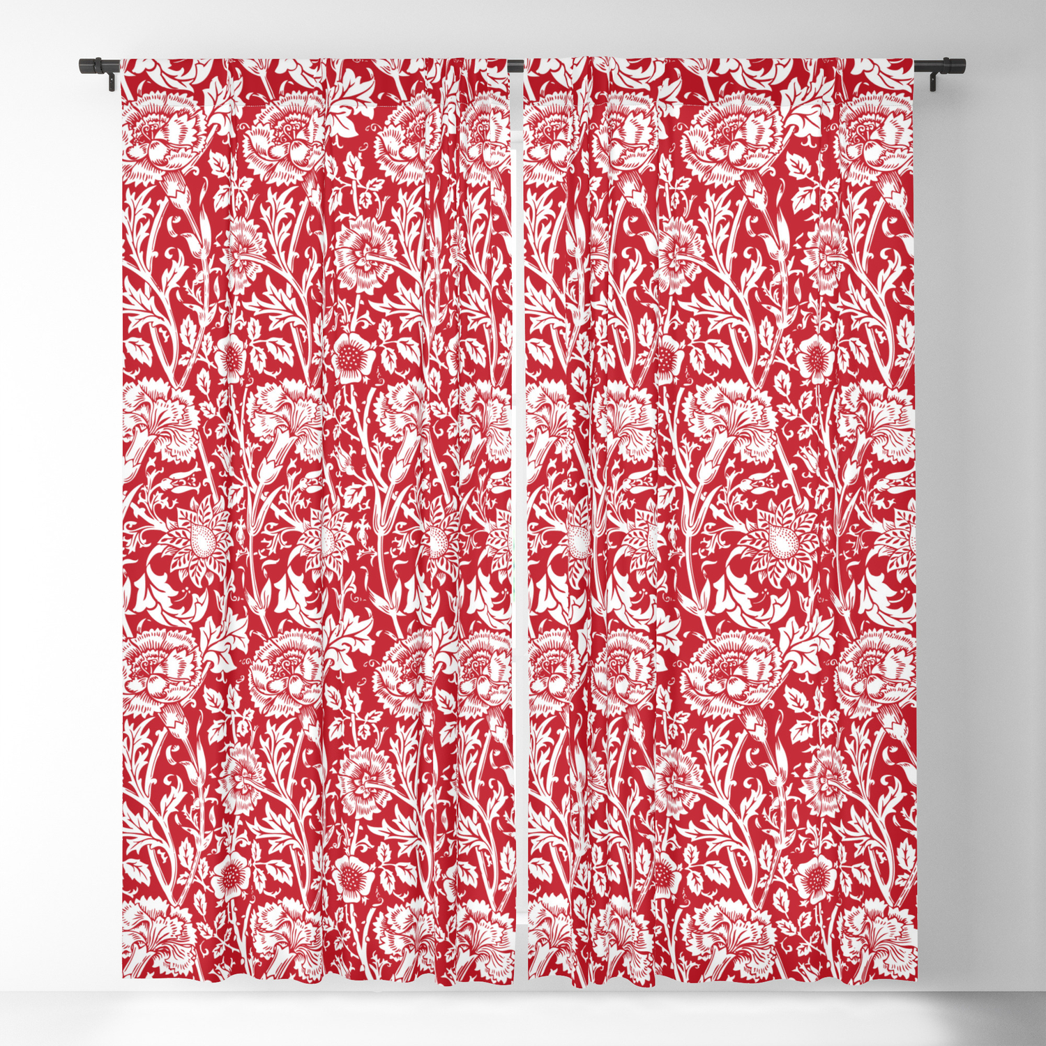 William Morris Floral Pattern Pink And Rose In Red And White
