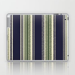 Navy blue and sage green stripes Laptop & iPad Skin