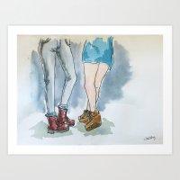 lesbian Art Prints featuring Lesbian Couple by moonlightsonata