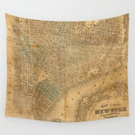 Vintage Map of New York City (1852) Wall Tapestry