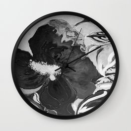 Black and White of Birthday Acrylic Blue Orange Hibiscus Flower Painting with Red and Green Leaves Wall Clock
