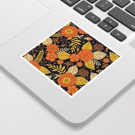 Retro Orange, Yellow, Brown, & Navy Floral Pattern Sticker