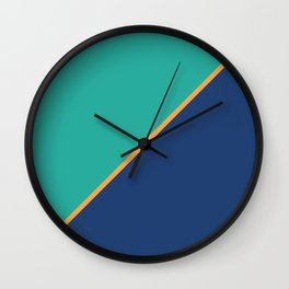 Mint & Dark Blue - oblique Wall Clock