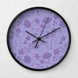 Hand painted ultraviolet modern floral illustration Wall Clock
