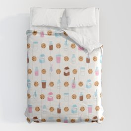 Milk and Cookies Pattern on White Comforters