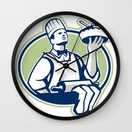 Baker Chef Cook Serving Pie Retro Wall Clock