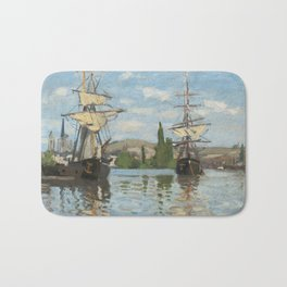 Classic Art - Ships Riding on the Seine at Rouen - Claude Monet Bath Mat