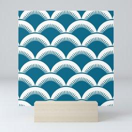 Japanese Fan Pattern Peacock Blue Mini Art Print