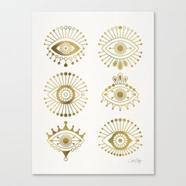 Evil Eyes – Gold Palette Canvas Print