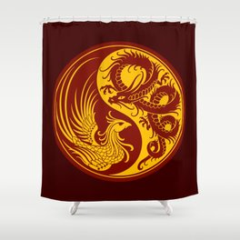 Yellow and Red Dragon Phoenix Yin Yang Shower Curtain