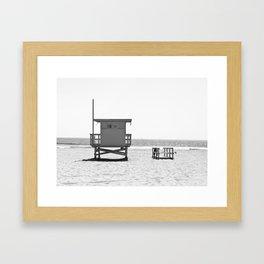 Manhattan Beach Lifeguard Tower (Black and White) Framed Art Print