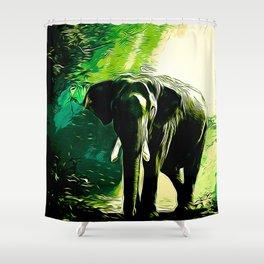 elephant jungle sunray va hg Shower Curtain