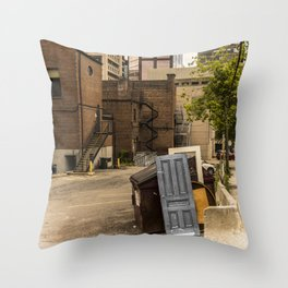 Door to nowhere  Montréal Canada street garbage Throw Pillow