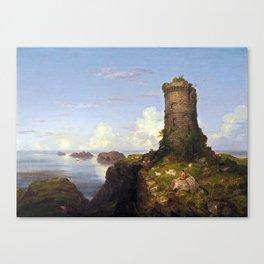 Thomas Cole Italian Coast Scene with Ruined Tower Canvas Print