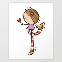 Girl with long legs and a love heart Art Print