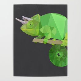 Low Poly Chameleon Poster