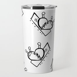 Hearts with Stitches - Black Outline Travel Mug