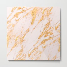 Gold Marble - Shimmery Glittery Rose Gold Marble Metallic Metal Print
