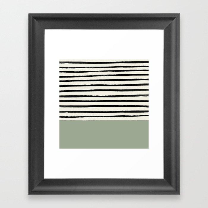 Sage Green x Stripes Gerahmter Kunstdruck