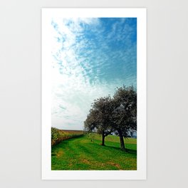 Cornfields, trees and lots of clouds | landscape photography Art Print