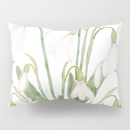 white snowdrop flower watercolor Pillow Sham