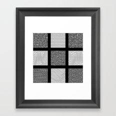Black and Gray Waves Framed Art Print