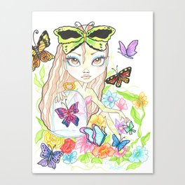 Girl with her Butterflies Canvas Print