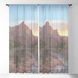 The Watchman Sunset Zion National Park Mountain Landscape Sheer Curtain