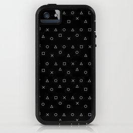 black gaming pattern - gamer design - playstation controller symbols iPhone Case
