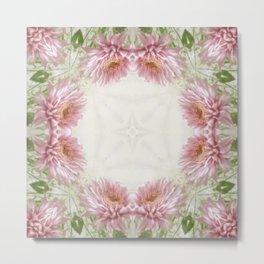 Pink Chrysanthemums Kaleidoscope Art 9 Metal Print