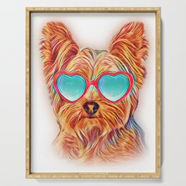 Yorkshire Terrier Colorful Yorkie Neon Dog Sunglasses Serving Tray