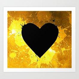 Yellow Watercolor splashed heart texture Art Print