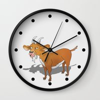 goat Wall Clocks featuring Goat by mailboxdisco
