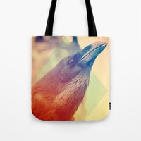 crow Tote Bags featuring Crow by Victor Vercesi