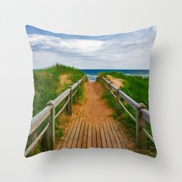 PEI Beach Boardwalk Throw Pillow