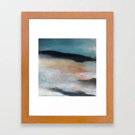Dawn: a minimal abstract acrylic piece in pink, blues, yellow, and white Framed Art Print