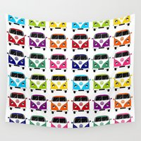 vw Wall Tapestries featuring VW Campervan by chauloom