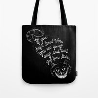 cheshire cat Tote Bags featuring Cheshire Cat by Kellabell9