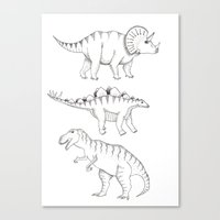 dinosaurs Canvas Prints featuring dinosaurs by Hannah Elizabeth